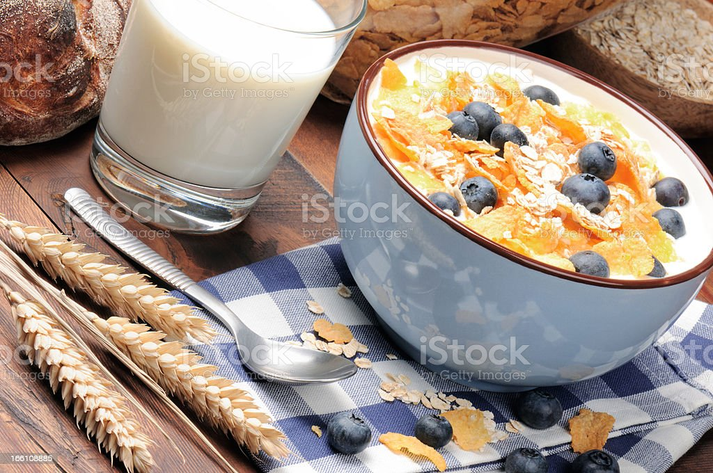 Healthy breakfast with cereals and blueberries royalty-free stock photo