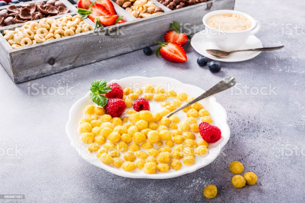 Healthy breakfast with coffee and cereals royalty-free stock photo