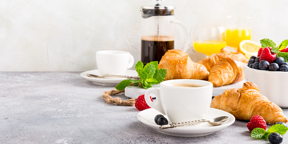 Healthy Breakfast With Coffee And Croissants Stock Photo - Download Image Now