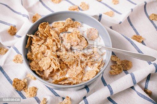 corn flakes on table