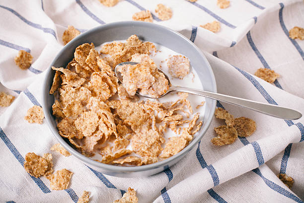 Healthy breakfast with corn flakes corn flakes on table cereal stock pictures, royalty-free photos & images