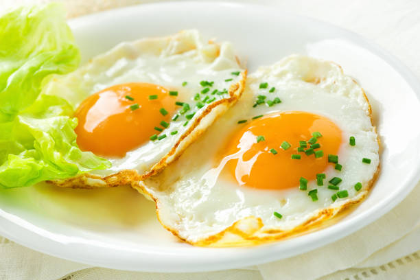 healthy breakfast with fried eggs - fried egg stock photos and pictures