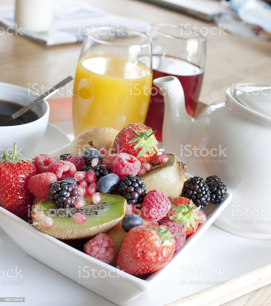 healthy breakfast with fruit and juice royalty-free stock photo
