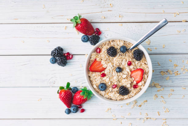 Healthy breakfast with muesli and berries Breakfast, Breakfast Cereal, Cereal Plant, Healthy Eating, Healthy Lifestyle oatmeal stock pictures, royalty-free photos & images