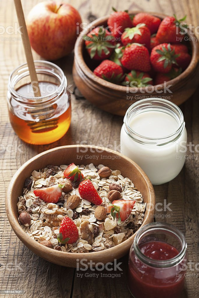 healthy breakfast with muesli and berry royalty-free stock photo