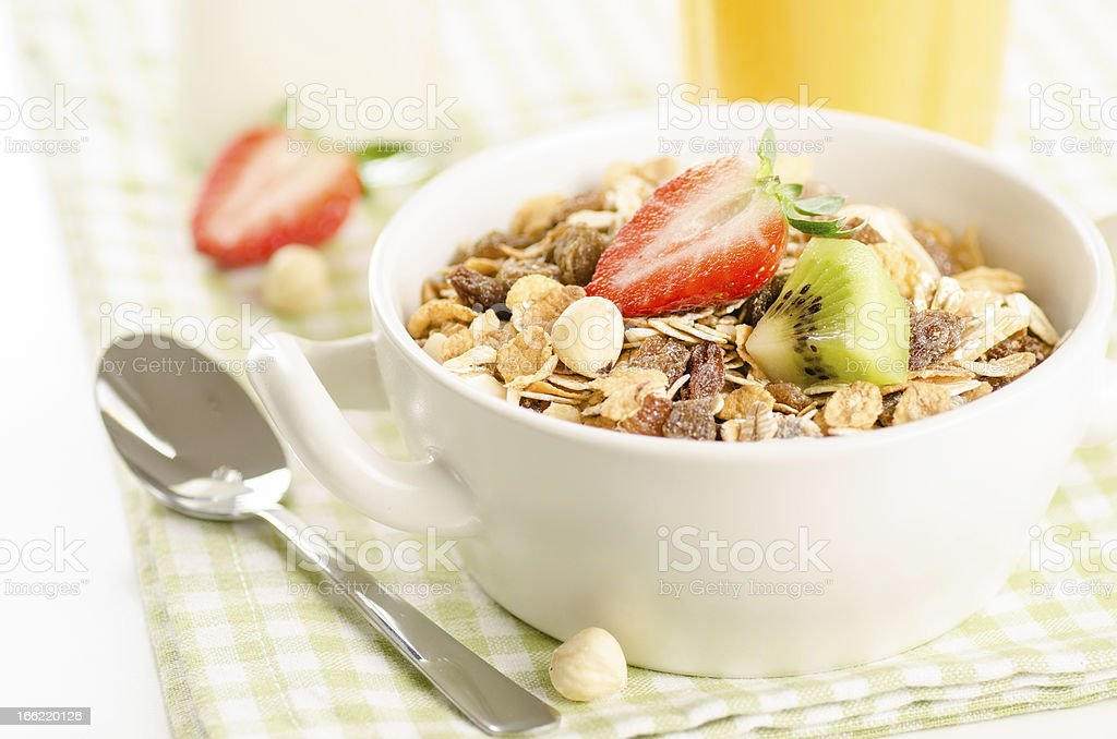 Healthy breakfast with muesli royalty-free stock photo