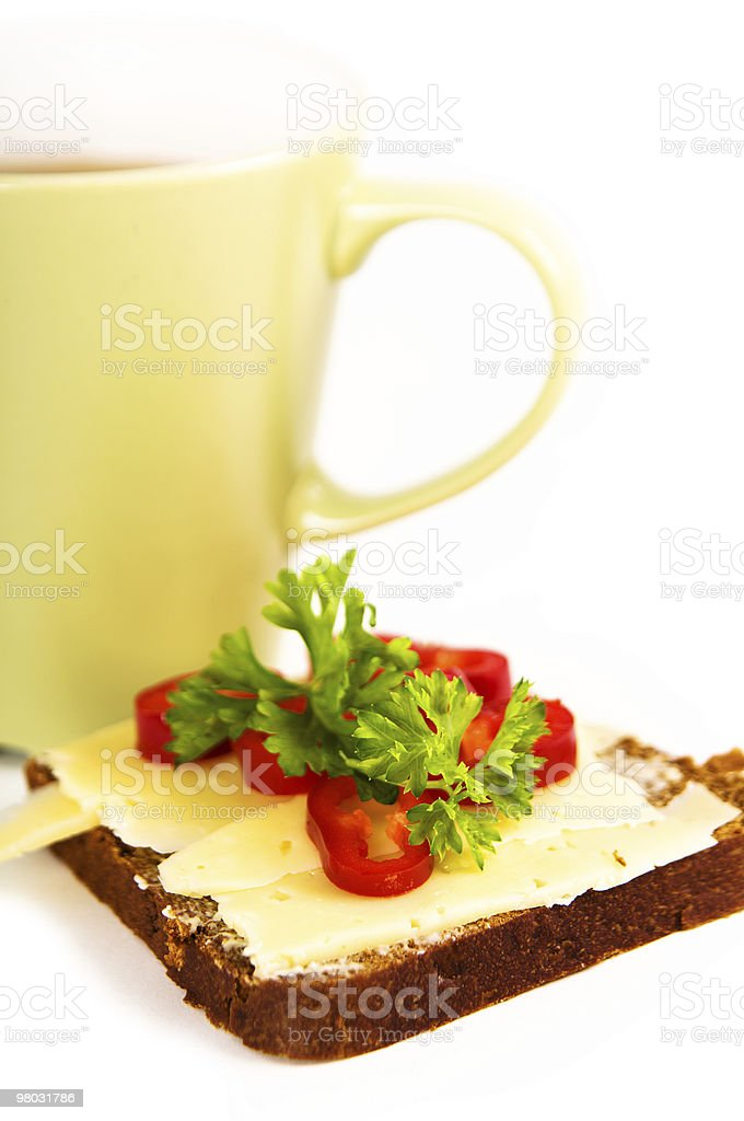 healthy breakfast with sandwich and tea royalty-free stock photo