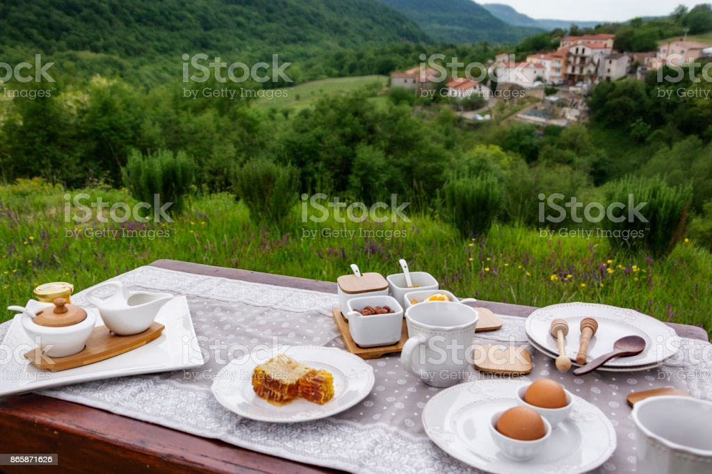 Healthy Breakfast With View On The Village stock photo
