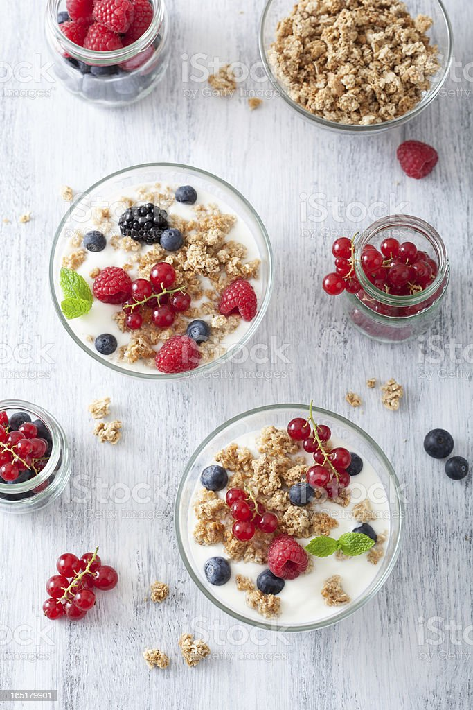 healthy breakfast with yogurt and granola royalty-free stock photo