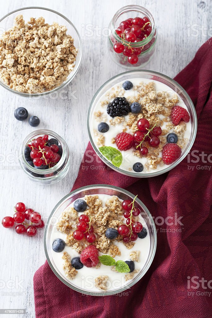 healthy breakfast with yogurt and granola royalty-free stock photo