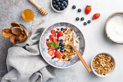 599887760 istock photo Healthy breakfast yogurt bowl with granola and berries 1186774650