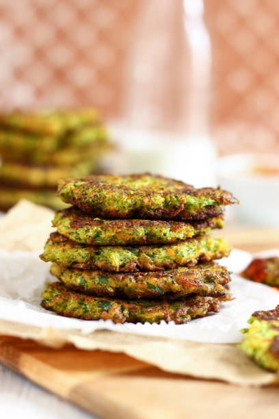 Healthy Broccoli and Carrot Fritters stock photo