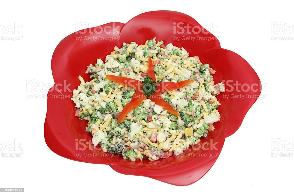 Healthy Broccoli and Cauliflower Salad royalty-free stock photo