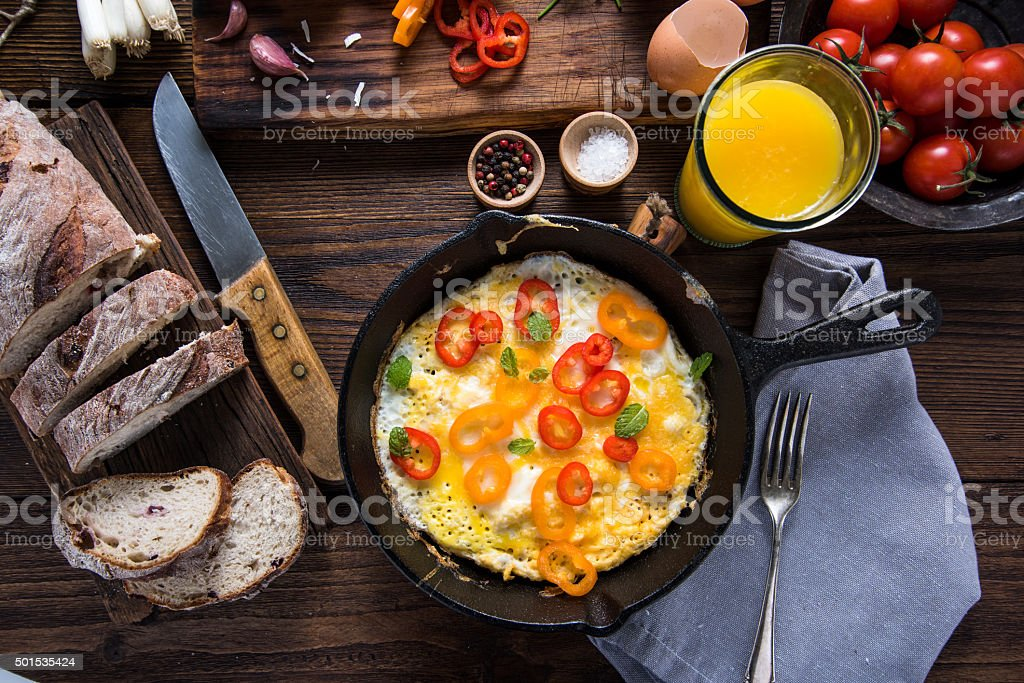 Healthy brunch idea on wooden table stock photo