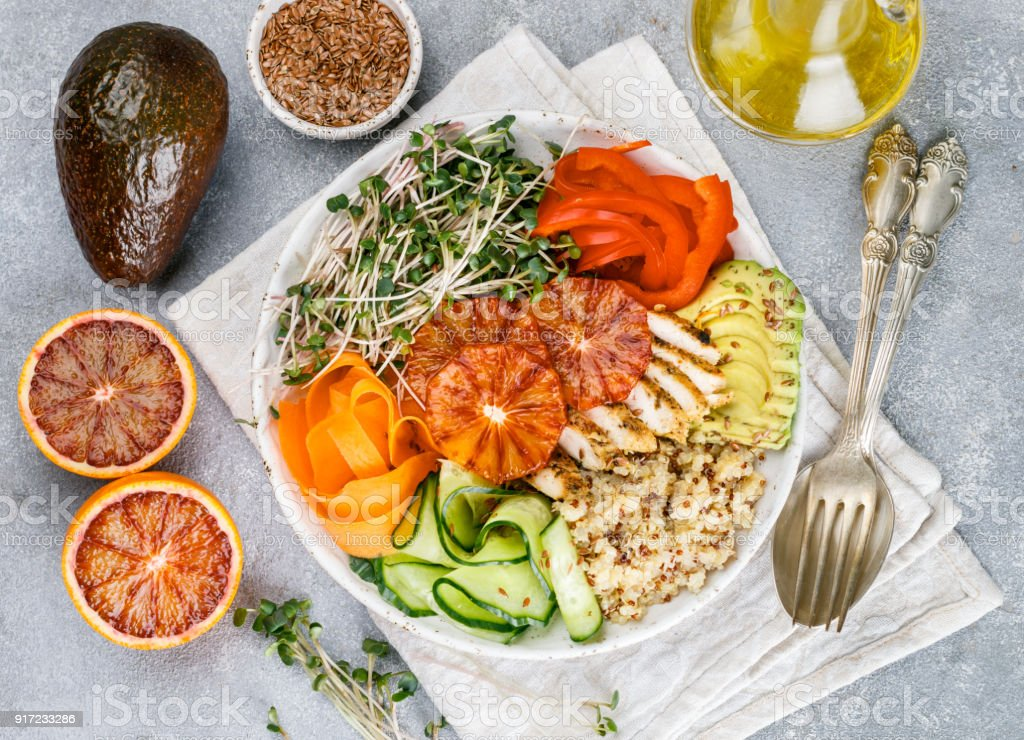 Healthy Buddha bowl with grilled chicken stock photo