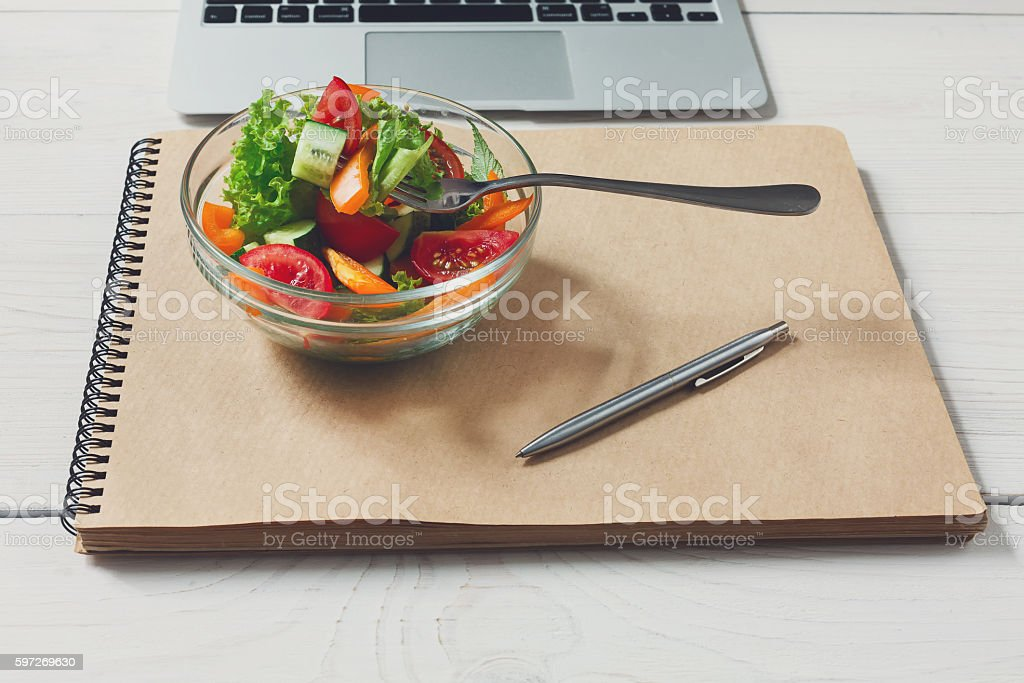 Healthy business lunch snack in office, vegetable salad and coffee royalty-free stock photo
