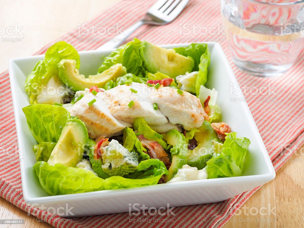 Healthy chargrilled chicken salad stock photo