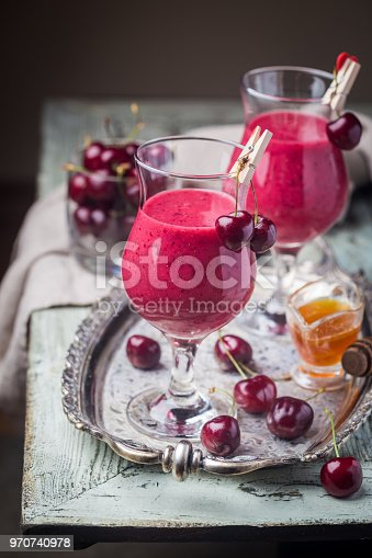 1081369140 istock photo Healthy cherry smoothie 970740978