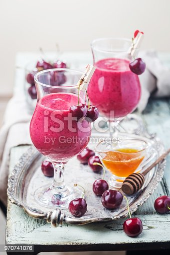 1081369140 istock photo Healthy cherry smoothie 970741076
