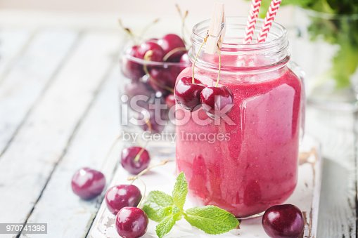 1081369140 istock photo Healthy cherry smoothie 970741398