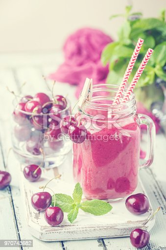 1081369140 istock photo Healthy cherry smoothie 970743682