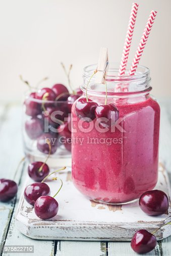 1081369140 istock photo Healthy cherry smoothie 975822710