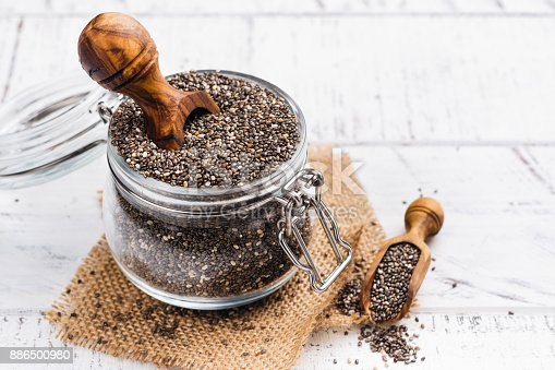 istock Healthy chia seeds in a glass jar 886500980