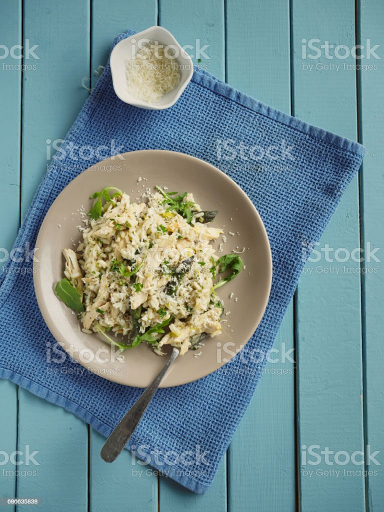 healthy chicken asparagus risotto stock photo