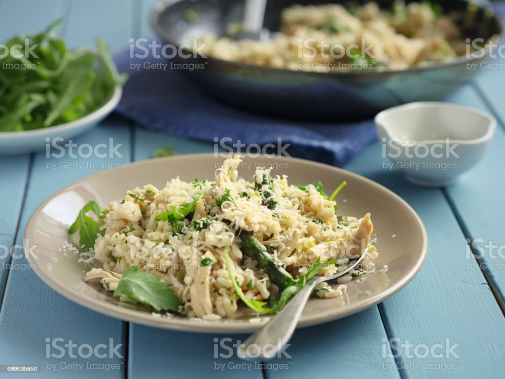 healthy chicken asparagus risotto royalty-free stock photo