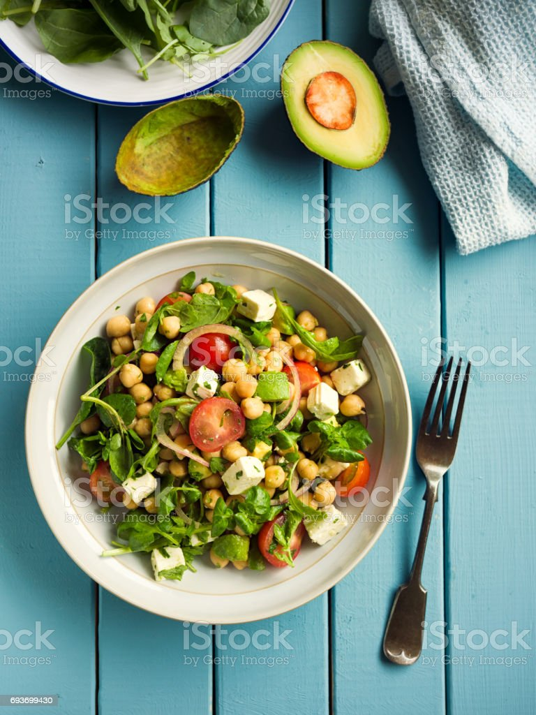 Healthy chickpea salad stock photo