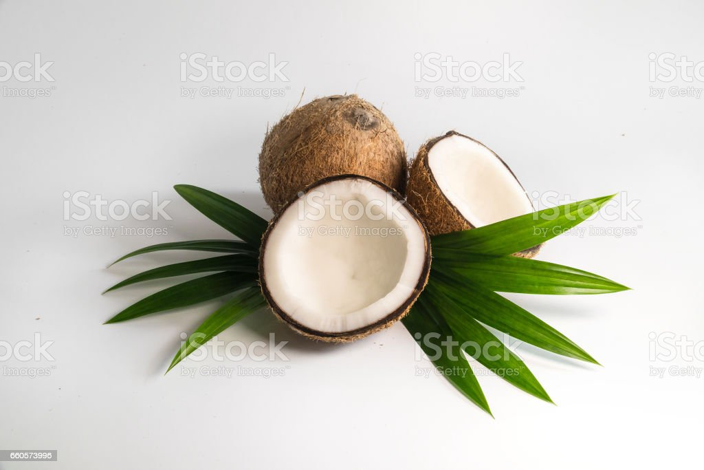 healthy coconut fruit on isolated on white background royalty-free stock photo