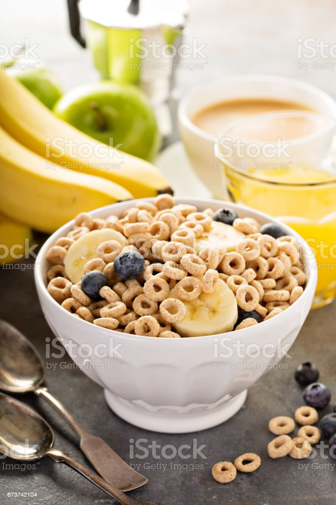 Healthy cold cereal in a white bowl stock photo