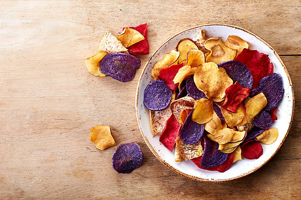 Healthy colorful vegetable chips stock photo