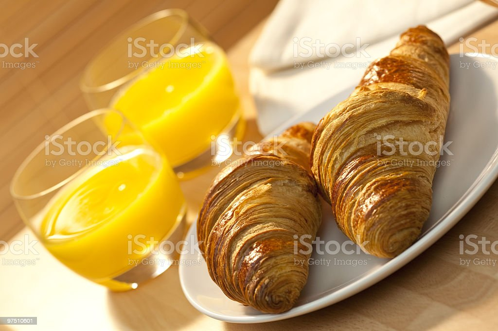 Healthy Continental Breakfast Croissant and Orange Juice royalty-free stock photo