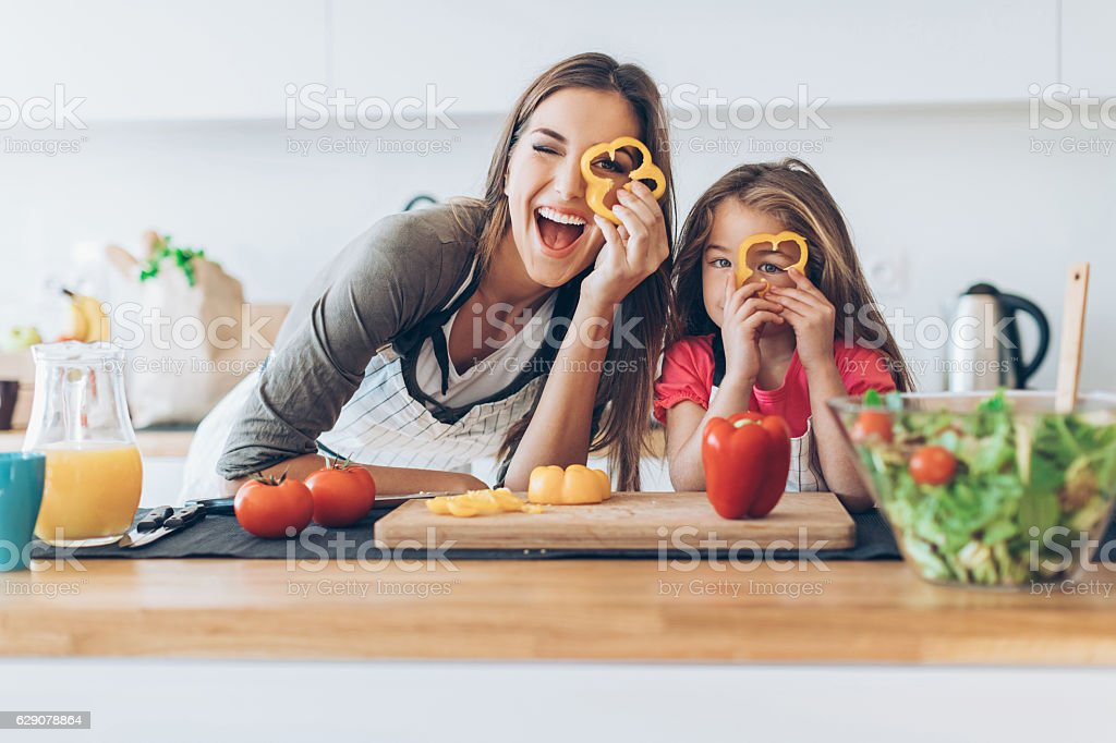 Healthy cooking can be so much fun! stock photo
