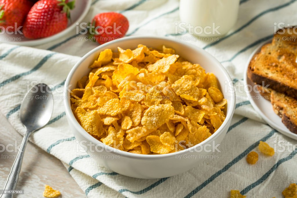 Healthy Corn Flakes with Milk for Breakfast stock photo