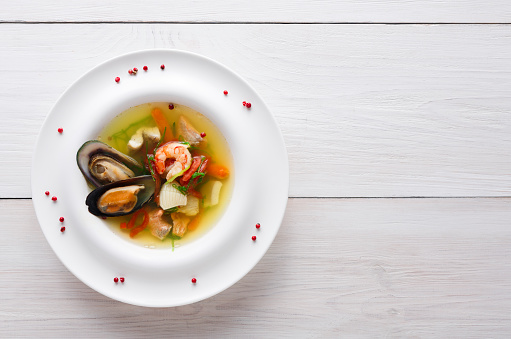 Healthy Delicatessen Seafood Soup Of White Fish Shrimps And Mussels Stock Photo - Download Image Now