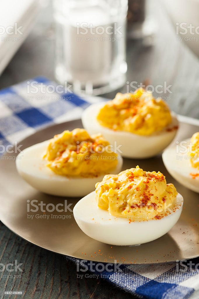 Healthy Deviled Eggs as an Appetizer stock photo