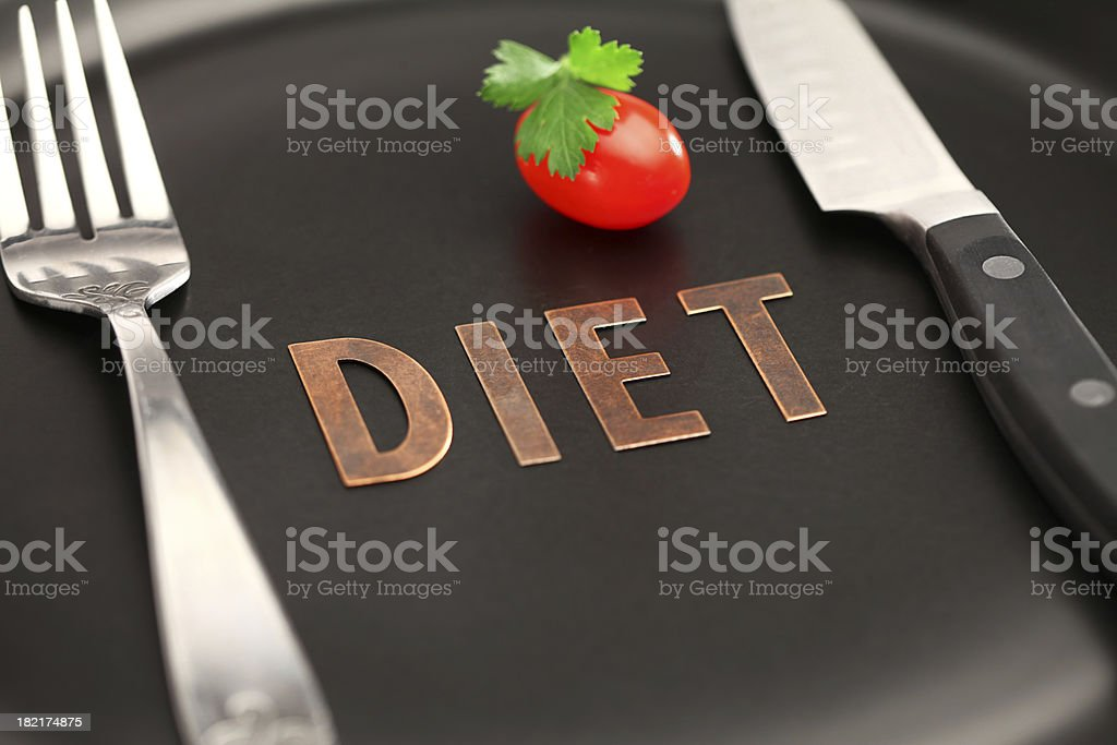 "Healthy Diet 101 ""Detail of a Plate with Fork, Knife, Tomato, parsley and Diet. XXXL, Cannon 5D with Shallow Depth of Field"" Beauty Stock Photo"