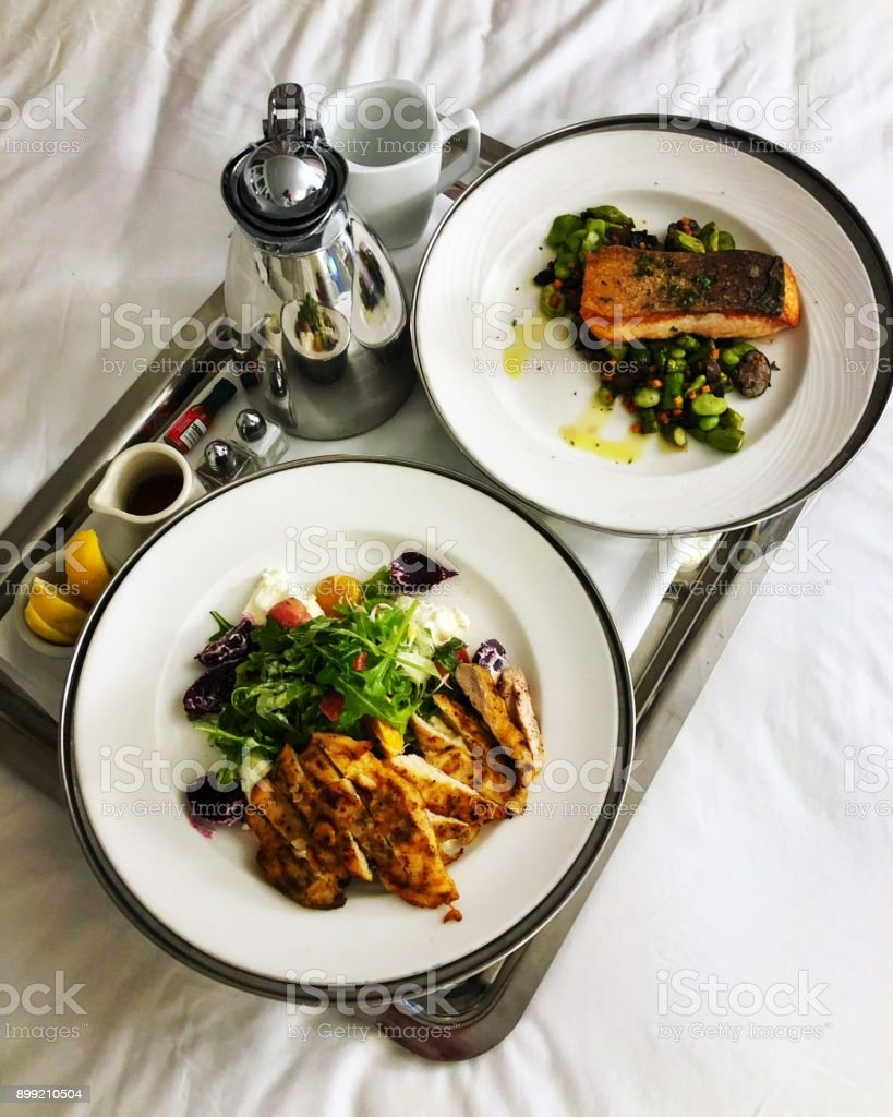 Healthy dinner served in a hotel room stock photo