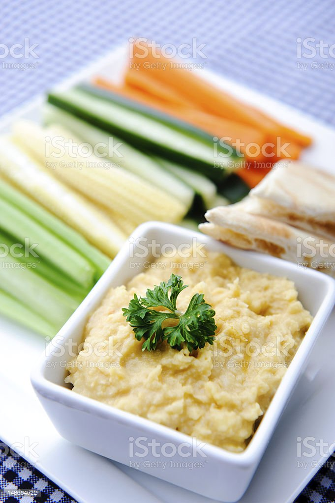 Healthy Dip Humus And Raw Vegetable Sticks Stock Photo Download Image Now Istock