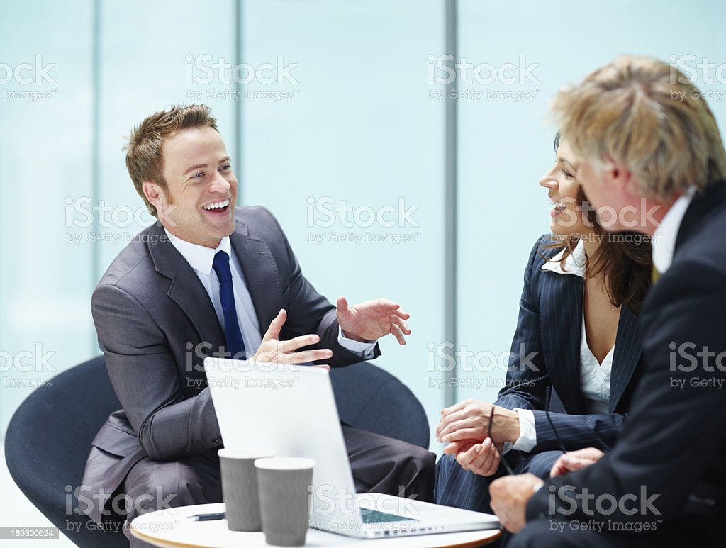 Healthy discussion between executives stock photo