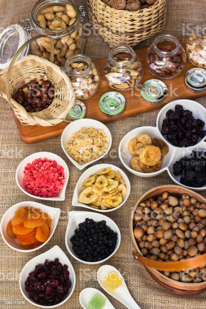 Healthy dried fruits and walnuts fruits stock photo