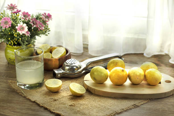 healthy drink of fresh lemon juice fesh lemon juice and squeezer served on the table lemon juice stock pictures, royalty-free photos & images