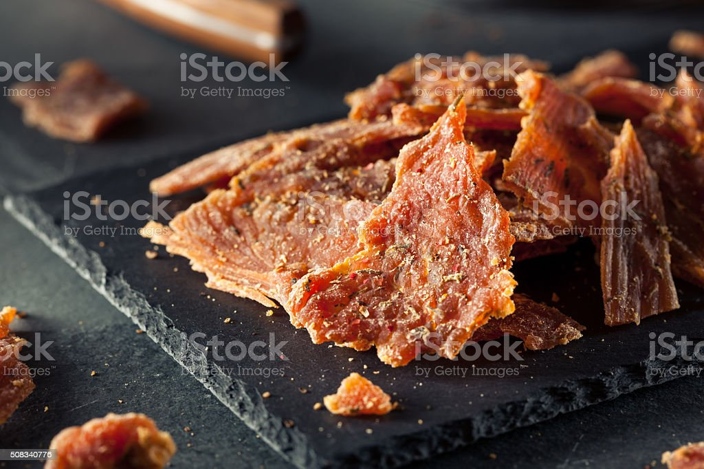 Healthy Dry Turkey Jerky stock photo