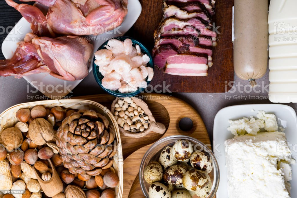 Assortment of healthy protein source and body building food. Meat...