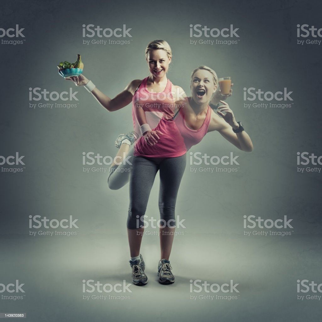 Healthy eating and exercise royalty-free stock photo