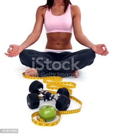 91837830 istock photo Healthy eating and yoga 91837805