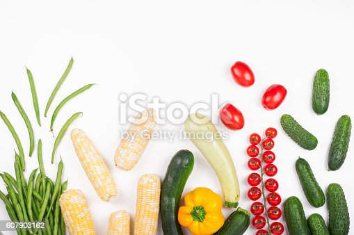 istock Healthy eating background. Vegetables on white background 607903162