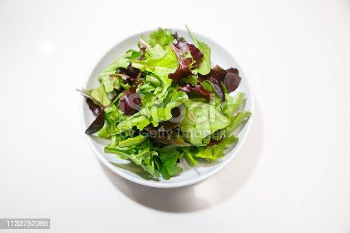 Salad bowls of fresh green lettuce